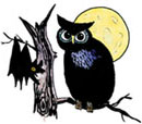 Owl, moon, bat